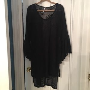 Free people lace tunic dress with bell sleeves